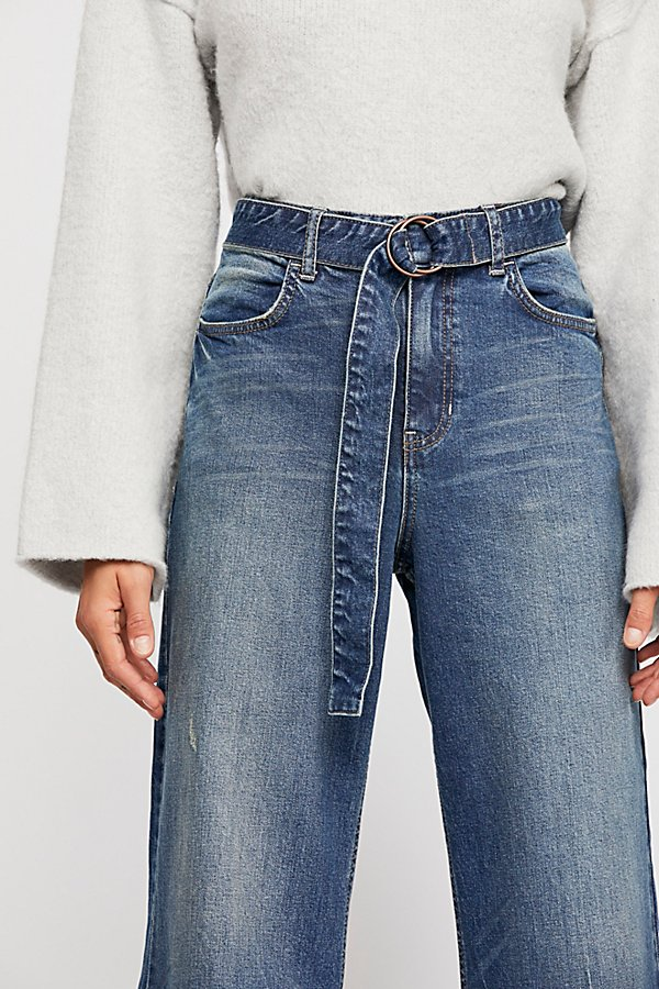 Slide View 3: Ringer Denim Wide-Leg Jeans