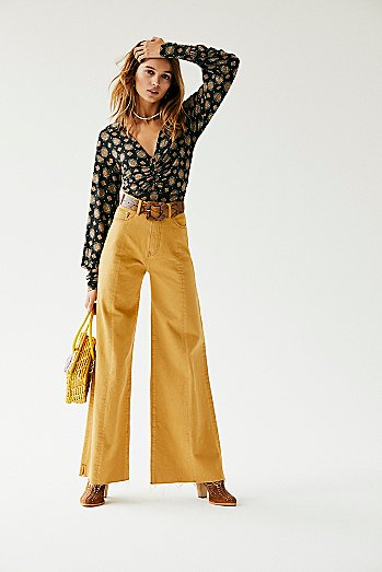 Neon Blonde Siren Sweep Wide-Leg Jeans