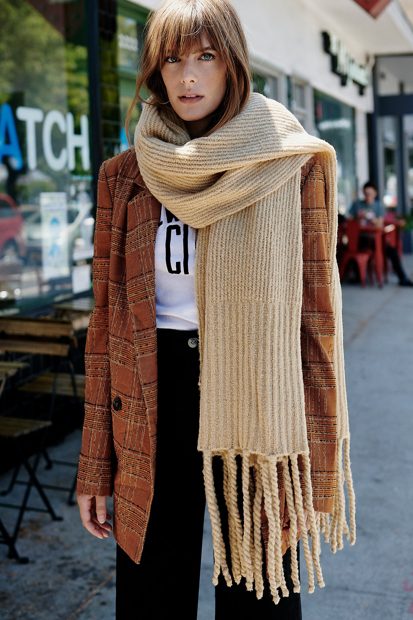 Ribbed Fringe Blanket Scarf | Free People