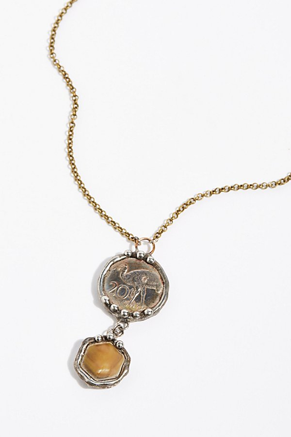 Slide View 1: Stone Drop Coin Pendant