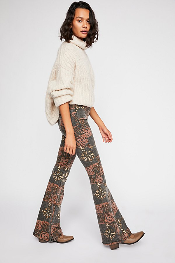 Slide View 2: Printed Penny Pull-On Flare Jeans