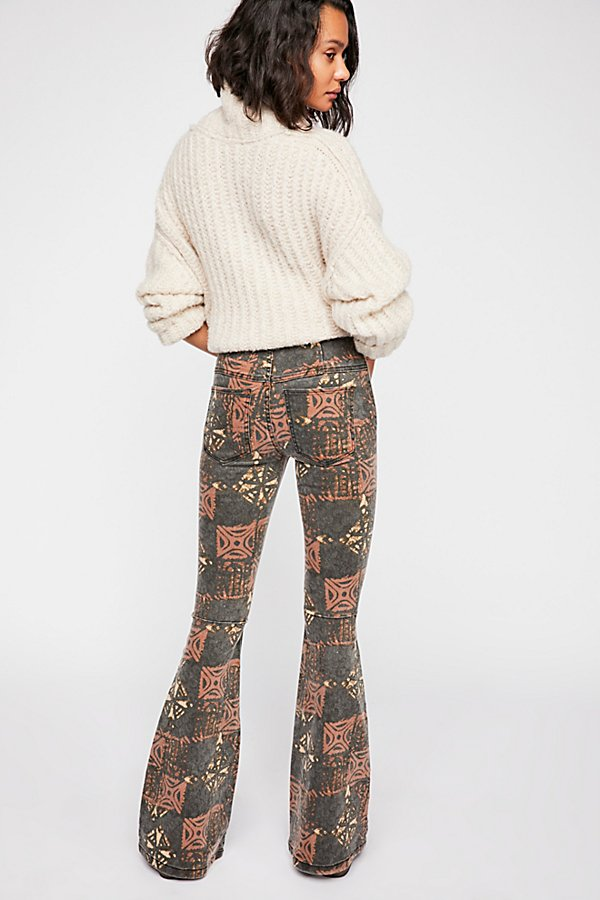 Slide View 3: Printed Penny Pull-On Flare Jeans