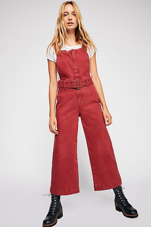 Slide View 1: Belted Twill Jumpsuit