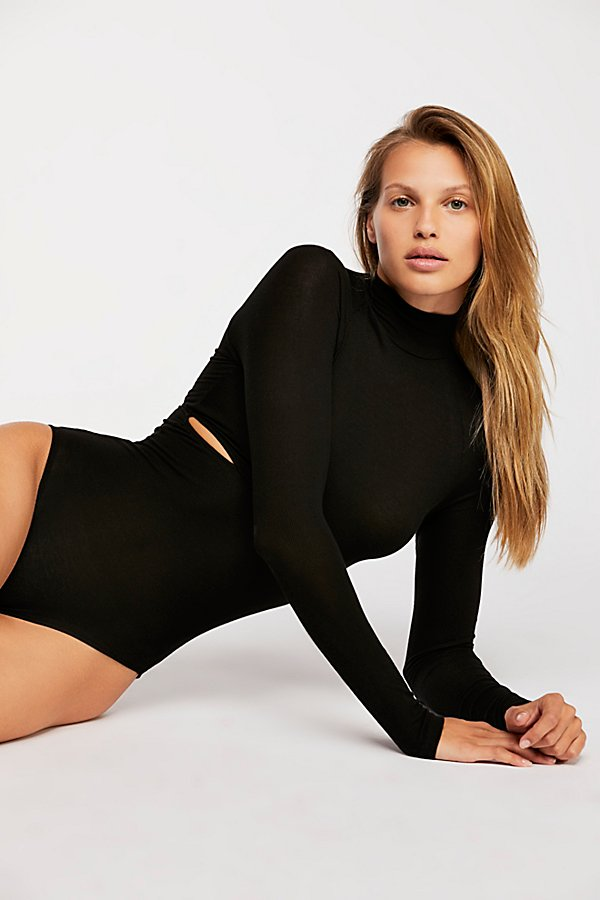 Slide View 1: Rib Slash Mockneck Bodysuit