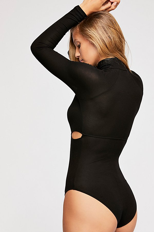 Slide View 3: Rib Slash Mockneck Bodysuit