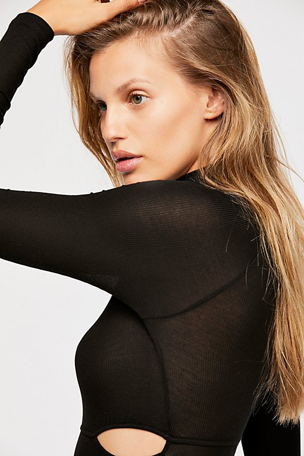 Slide View 4: Rib Slash Mockneck Bodysuit