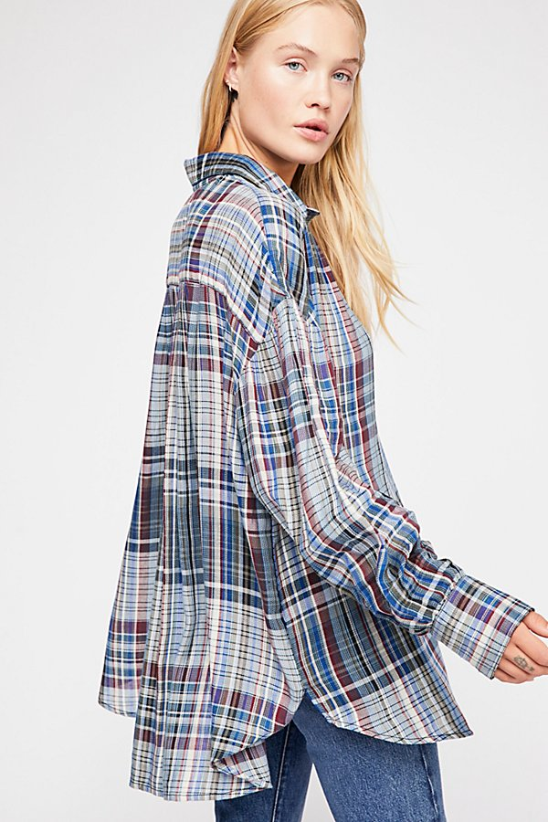 Slide View 3: Rainbow Days Plaid Top