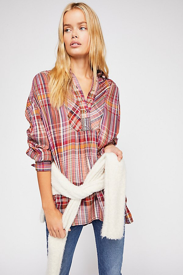 Slide View 1: Rainbow Days Plaid Top