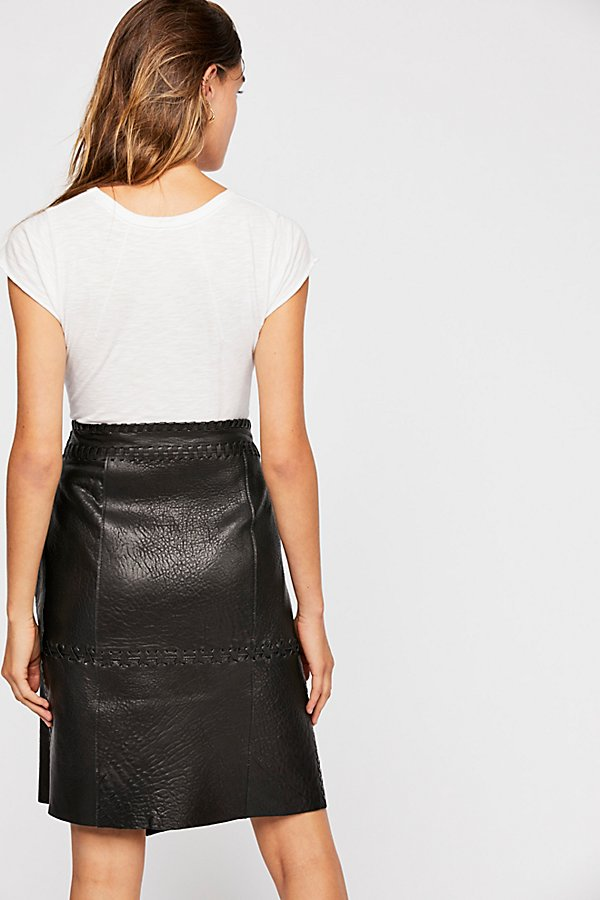 Slide View 2: Belted Leather Skirt