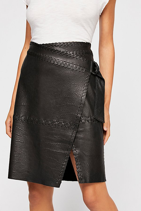 Slide View 3: Belted Leather Skirt