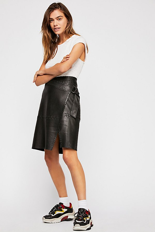 Slide View 4: Belted Leather Skirt