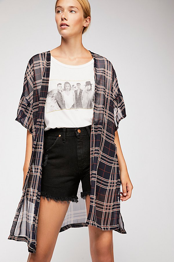 Slide View 1: Margate Sheer Plaid Kimono
