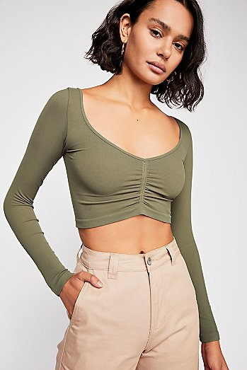 Ruched Front Long Sleeve