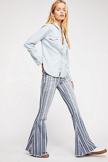 Denim Super Striped Flare Jeans