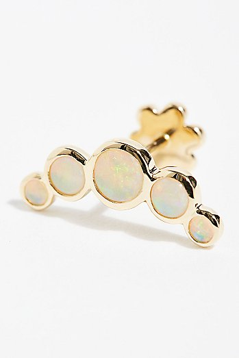 Five Opal Garland Threaded Stud Single Earring