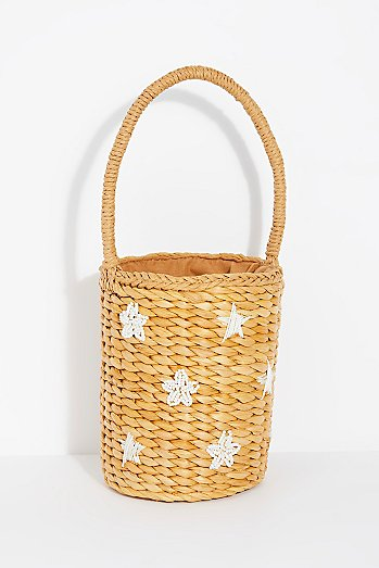 Simone Straw Bucket Bag