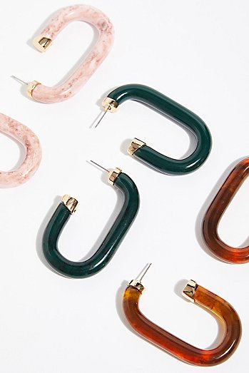 Carine Resin Hoop Earrings