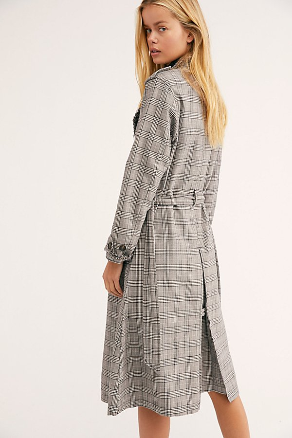 Slide View 3: Dorian Unlined Plaid Trench Coat