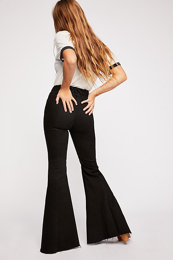 Slide View 1: CRVY Super High-Rise Lace-Up Flare Jeans