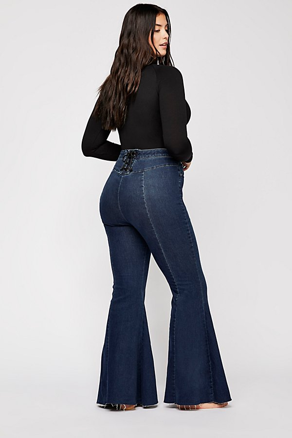 Slide View 8: CRVY Super High-Rise Lace-Up Flare Jeans