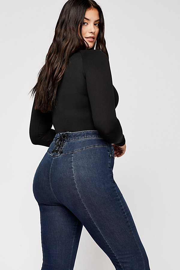 Slide View 9: CRVY Super High-Rise Lace-Up Flare Jeans