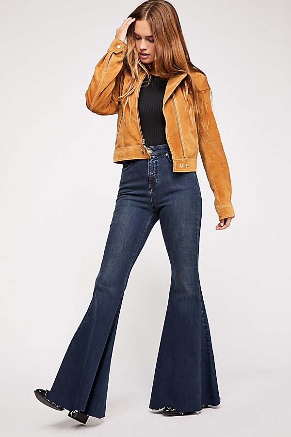 Slide View 2: CRVY Super High-Rise Lace-Up Flare Jeans