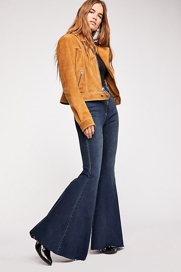 Slide View 3: CRVY Super High-Rise Lace-Up Flare Jeans