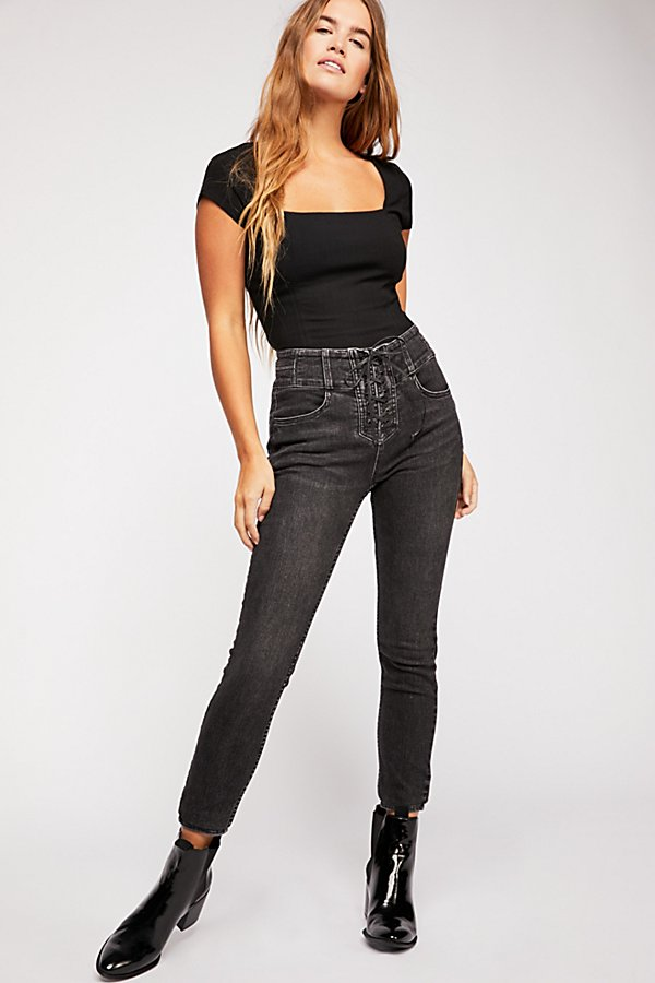 Slide View 2: CRVY High-Rise Lace-Up Skinny Jeans