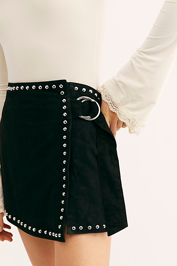 Slide View 3: Emerald Studded Suede Mini Skirt