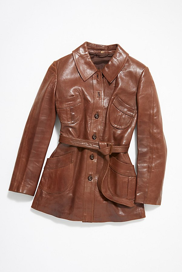 Slide View 1: Vintage 1970s Leather Coat
