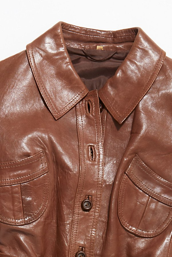 Slide View 2: Vintage 1970s Leather Coat