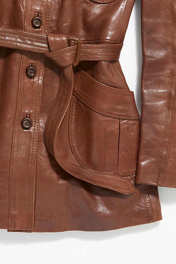 Slide View 3: Vintage 1970s Leather Coat
