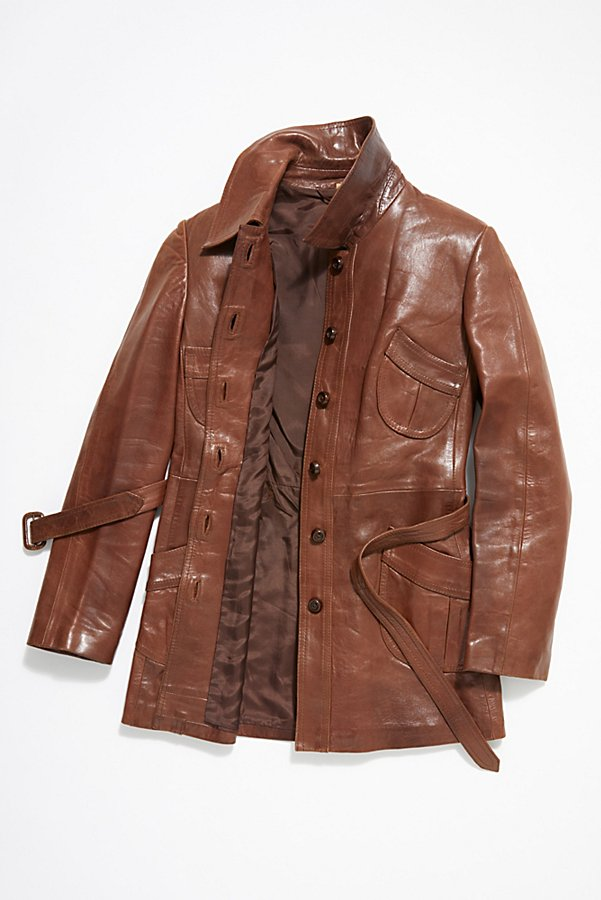 Slide View 4: Vintage 1970s Leather Coat