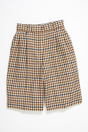 Vintage '80s Plaid Wool Shorts