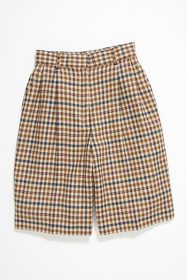 Slide View 1: Vintage '80s Plaid Wool Shorts