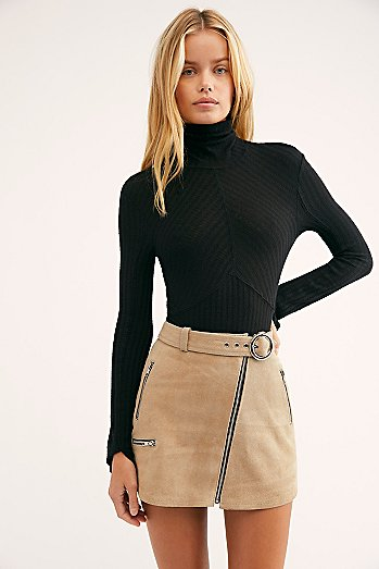 Moto Suede Mini Skirt
