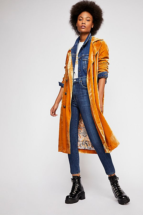 Bryant Velvet Trench Coat | Free People
