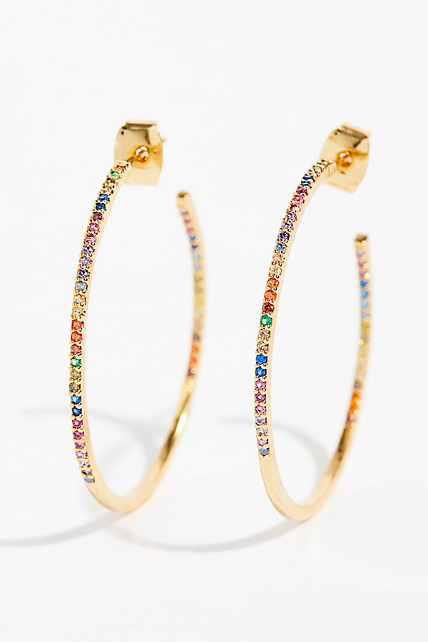 Slide View 2: Tai Rhinestone Medium Hoop Earrings