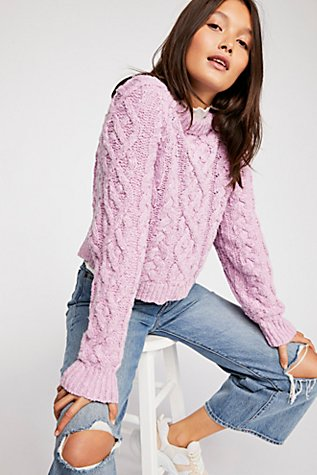 Aran Isle Cable Crew Pullover Sweater by Free People