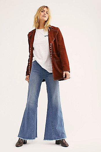 Drapey A-Line Pull-On Bell Bottom Jeans