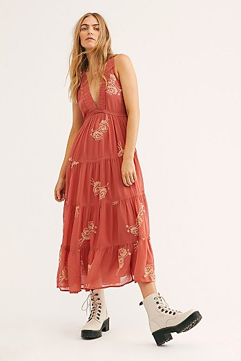 Run Away With Me Embroidered Midi Dress