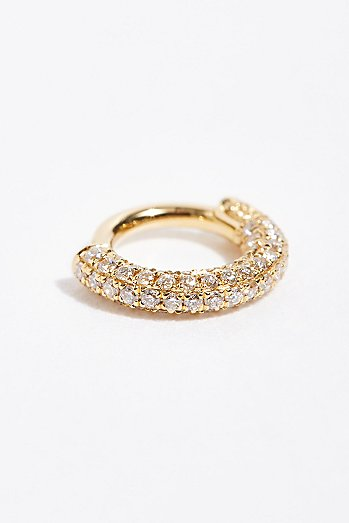 5mm Diamond Five Row Pave Single Earring