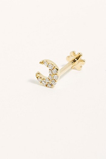 Small Diamond Moon Single Threaded Stud Earring