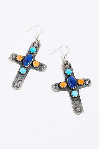 Navajo Stone Cross Earrings