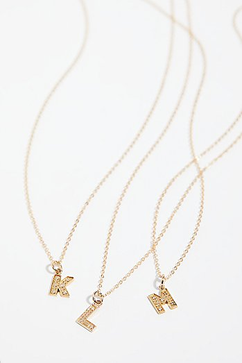 14k Diamond Varsity Letter Necklace