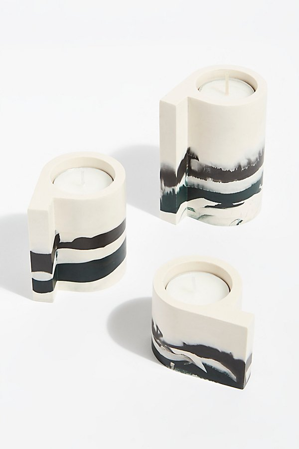 Slide View 1: Ceramic Candle Holder Set