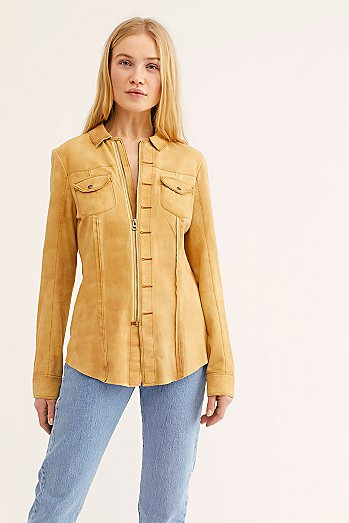 Amber Suede Shirt Jacket