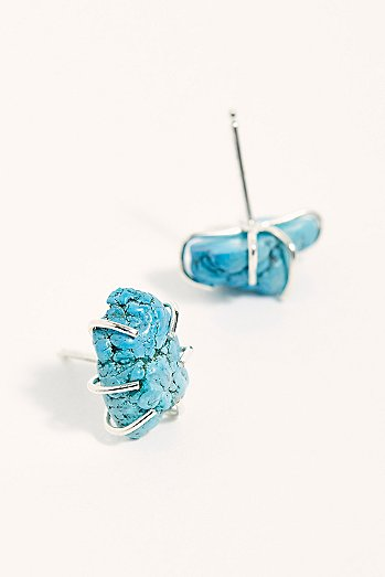 Raw Turquoise Stud Earrings