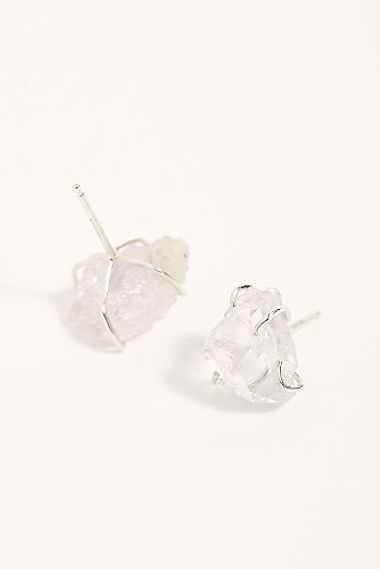 Raw Rose Quartz Studs
