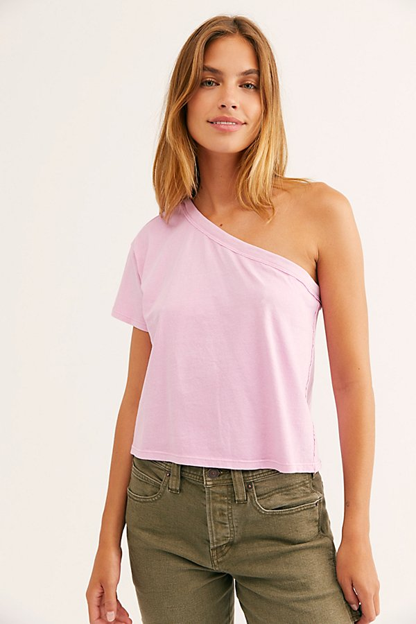 Slouchy tee from our We The Free collection featured in a one-shoulder silhouette. * Cropped to the natural waist * Boxy fit